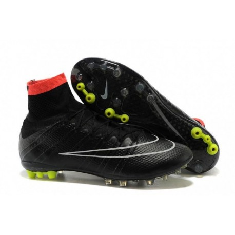 Nike Mercurial Superfly AG Bottes de football Noir Blanc Hyper Punch Volt