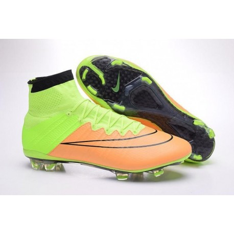 Nike Mercurial Superfly Leather FG Football Bottes Toile Noir Volt