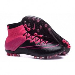 Nike Mercurial Superfly Leather AG R Bottes de football Noir Noir Hyper Rose Rose Pow