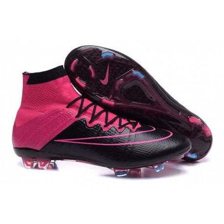 Bottes de football Nike Mercurial Superfly K Leather FG Noir Hyper rose