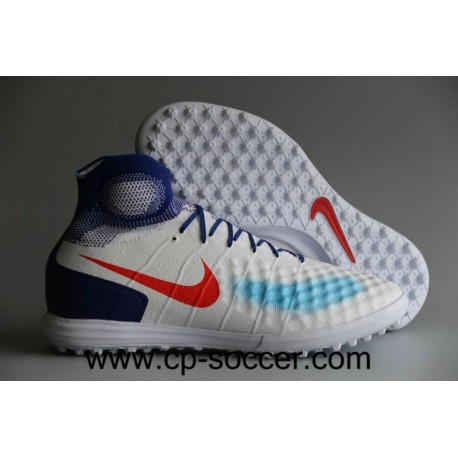 Nike Women's MagistaX Proximo II TF Olympics Soccer Cleats Blanc / Bright Crimson / Racer Bleu