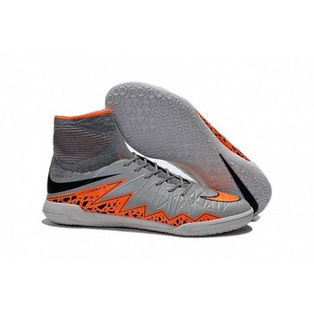 Bottes de football Nike HypervenomX Proximo IC Wolf Grey Total Orange Noir