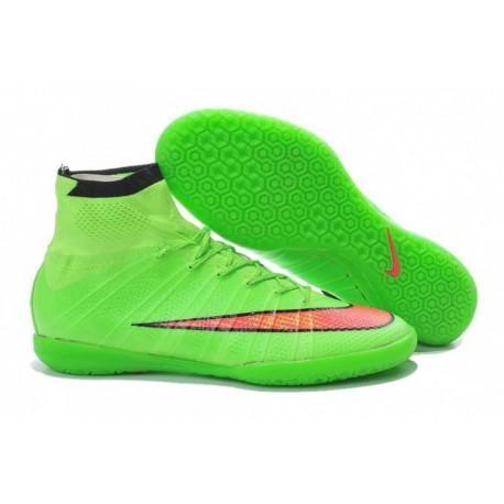 Bottes de football Nike MercurialX Proximo Street IC Vert Hyper Punch Noir