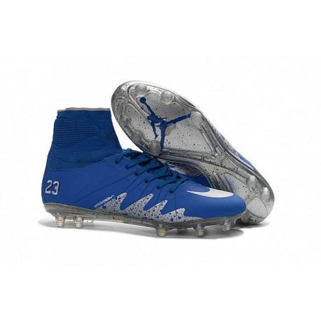 Nouveau 2016-17 Nike Hypervenom Phantom 2 Neymar x Air Jordan Bleu argent Metallic