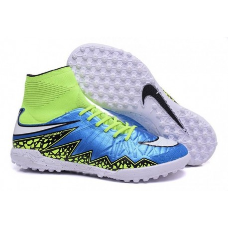 Bottes de football Nike HypervenomX Proximo Street TF Bleu Lagoon Blanc Volt Noir