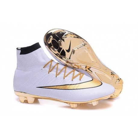 Nike Mercurial Superfly FG Or Cleats Or blanc