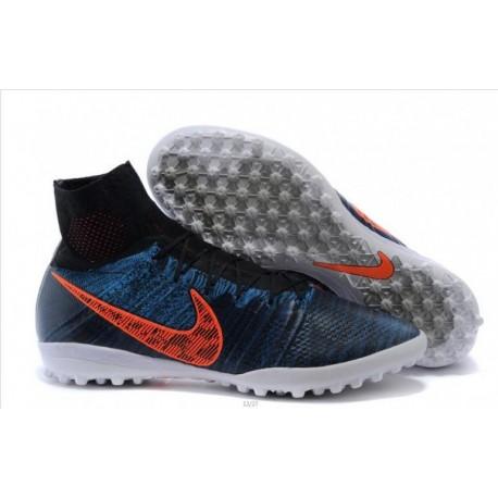 Bottes de football Nike Elastico Superfly TF Noir Bleu foncé Total Crimson Gris foncé