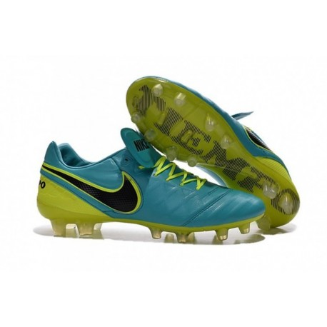 Bottes de football Nike Tiempo Legend VI FG Bleu Jaune Noir