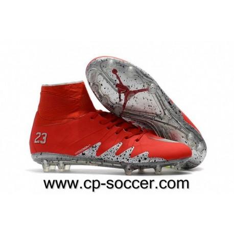 Nike Hypervenom Phantom II Neymar x Jordan FG Soccer Cleats Rouge / argent Metallic
