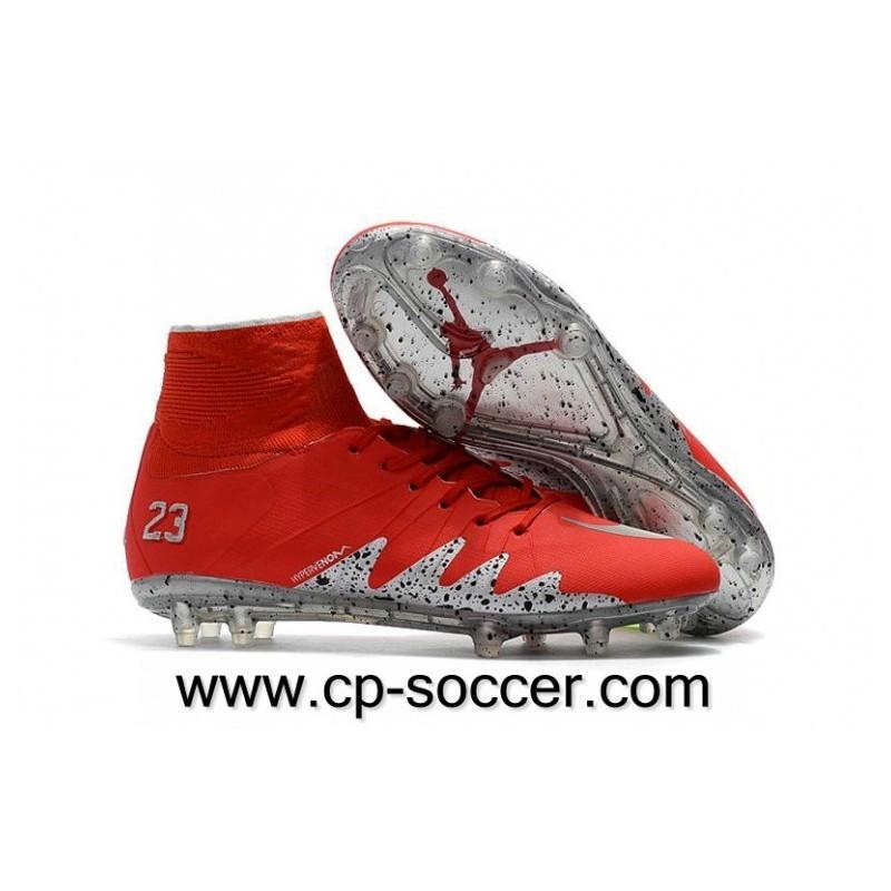 Nike Hypervenom Phantom II Neymar x Jordan FG Soccer Cleats Rouge argent Metallic