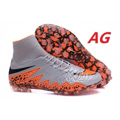 Nike Hypervenom Phantom II AG R Bottes de football Wolf Grey Total Orange Noir Noir