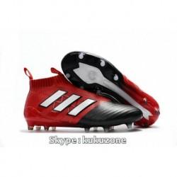 2017 Pastels de football adidas ACE 17+ Purecontrol FG pas cher Rouge / Blanc / Core Noir