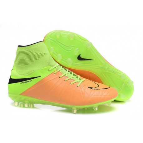 Nike Hypervenom Phantom II Leather FG Football Bottes Toile Noir Volt