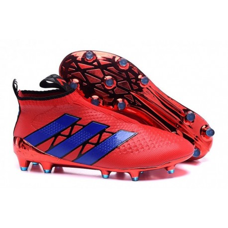newest c60db e9a8c Adidas ACE 16 + Purecontrol FG Crampons de football Rouge  Bleu Metallic  Colourway